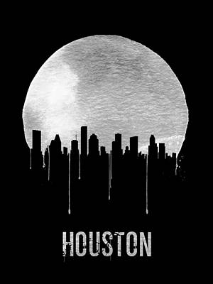 Panorama Painting - Houston Skyline Black by Naxart Studio