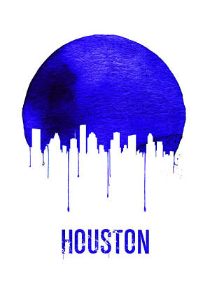 University Wall Art - Digital Art - Houston Skyline Blue by Naxart Studio