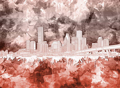 Painting - Houston Skyline Brush Strokes 3 by Bekim Art