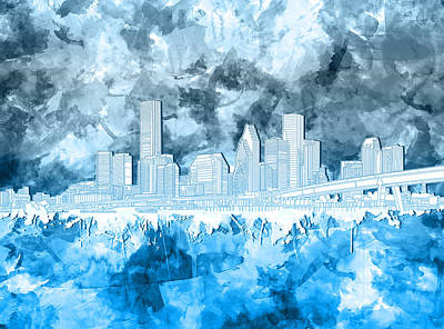 Painting - Houston Skyline Brush Strokes 4 by Bekim Art