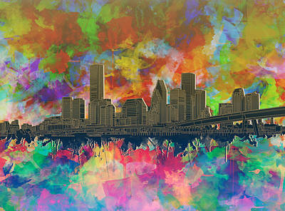 Painting - Houston Skyline Brush Strokes 5 by Bekim Art