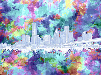 Painting - Houston Skyline Brush Strokes 7 by Bekim Art