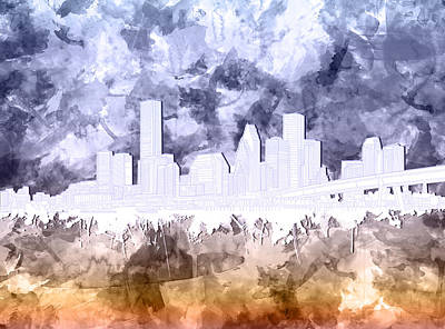 Painting - Houston Skyline Brush Strokes by Bekim Art