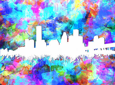 Painting - Houston Skyline Colorful by Bekim Art