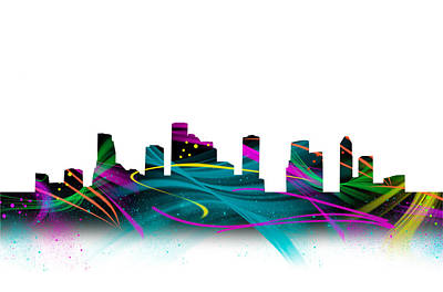 Houston Digital Art - Houston Skyline Crazy Watercolor Art by Tod and Cynthia Grubbs