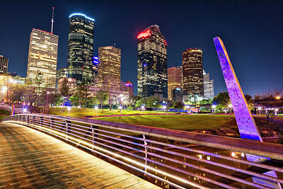 Photograph - Houston Skyline From Buffalo Bayou Pedestrian Bridge by Andy Crawford