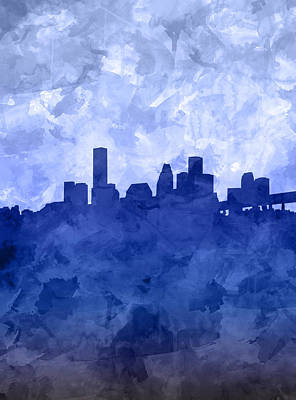 Houston Skyline Grunge Blue Art Print