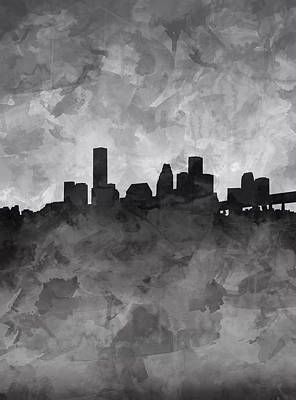 Houston Skyline Grunge Art Print