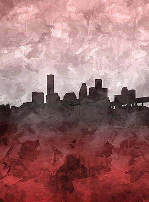 Houston Skyline Grunge Red Art Print