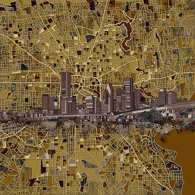 Painting - Houston Skyline Map 10 by Bekim Art