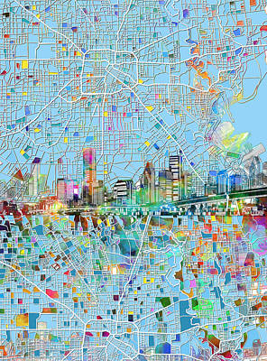Painting - Houston Skyline Map 4 by Bekim Art