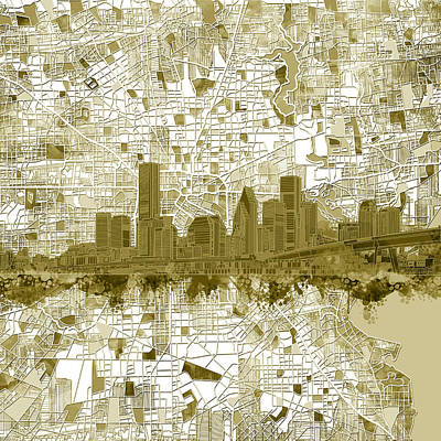 Painting - Houston Skyline Map 7 by Bekim Art