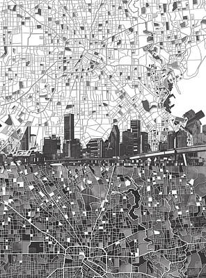 Painting - Houston Skyline Map Black And White 2 by Bekim Art