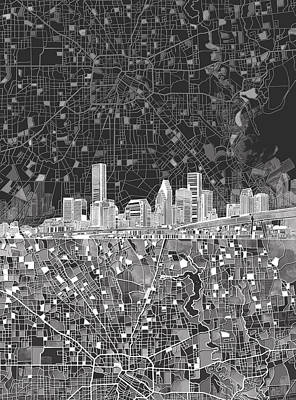 Abstract Skyline Paintings - Houston Skyline Map Black And White by Bekim M