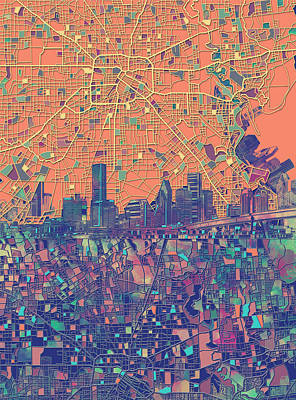 Painting - Houston Skyline Map by Bekim Art