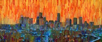 Roads Digital Art - Houston Skyline Night 51 - Da by Leonardo Digenio