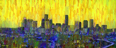 Scenes Painting - Houston Skyline Night 52 - Pa by Leonardo Digenio