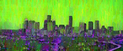 Streets Digital Art - Houston Skyline Night 53 - Da by Leonardo Digenio