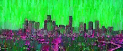 Houston Skyline Night 54 - Pa Print by Leonardo Digenio