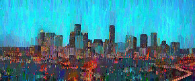 Texas Painting - Houston Skyline Night 55 - Pa by Leonardo Digenio