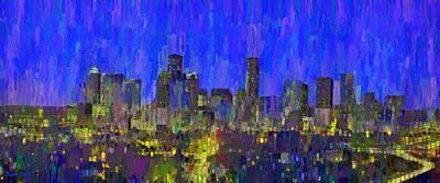 Center Painting - Houston Skyline Night 56 - Da by Leonardo Digenio