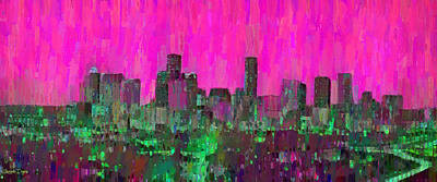 Evening Painting - Houston Skyline Night 57 - Pa by Leonardo Digenio