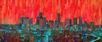 Cities Digital Art - Houston Skyline Night 58 - Da by Leonardo Digenio