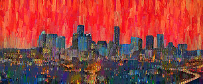Towers Painting - Houston Skyline Night 59 - Pa by Leonardo Digenio