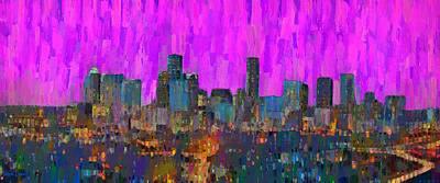 Structure Painting - Houston Skyline Night 61 - Da by Leonardo Digenio