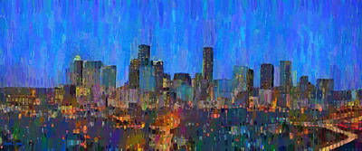 United Painting - Houston Skyline Night 62 - Pa by Leonardo Digenio