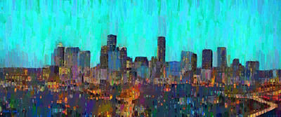 Houston Skyline Night 65 - Da Art Print by Leonardo Digenio