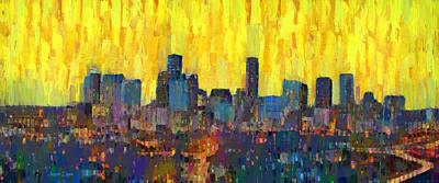 Towers Digital Art - Houston Skyline Night 66 - Da by Leonardo Digenio