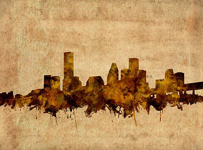 Painting - Houston Skyline Old Vintage by Bekim Art
