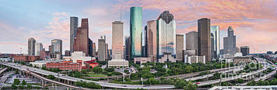 Transportation Photograph - Houston Skyline Sunset Pano by Tod and Cynthia Grubbs