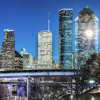Photograph - Houston Skyline Texas Color Cityscape 1x1 by Gregory Ballos
