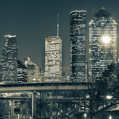Photograph - Houston Skyline Texas Sepia Cityscape 1x1 by Gregory Ballos