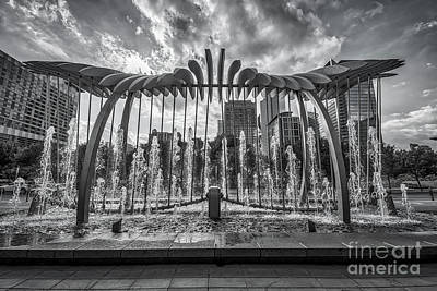 Houston Skyline Thru Wing Over Water Bw Art Print by Tod and Cynthia Grubbs