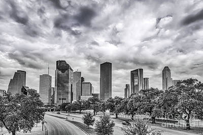 Houston Skyline View In Black And White Art Print by Tod and Cynthia Grubbs