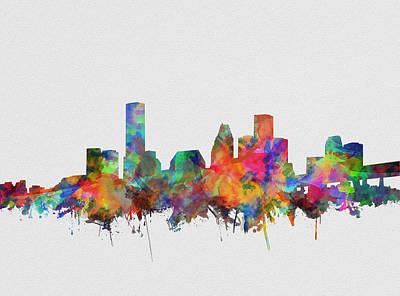Painting - Houston Skyline Watercolor 5 by Bekim Art