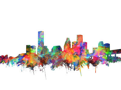 Houston Skyline Watercolor 6 Art Print