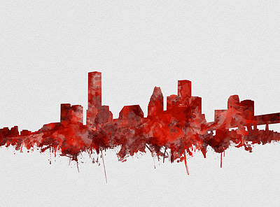 Painting - Houston Skyline Watercolor Red by Bekim Art