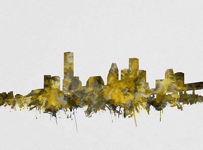 Painting - Houston Skyline Watercolor Sepia by Bekim Art