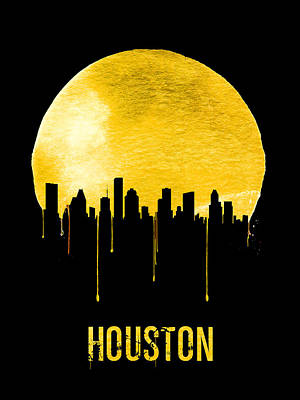 University Wall Art - Painting - Houston Skyline Yellow by Naxart Studio