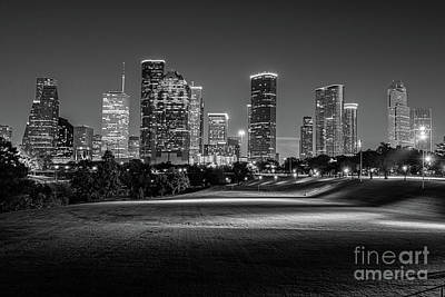 Cities Photograph - Houston Skylline In Black And White by Tod and Cynthia Grubbs