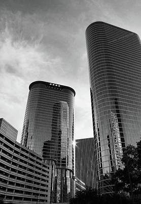 Photograph - Houston Skyscrapers Black And White by Judy Vincent