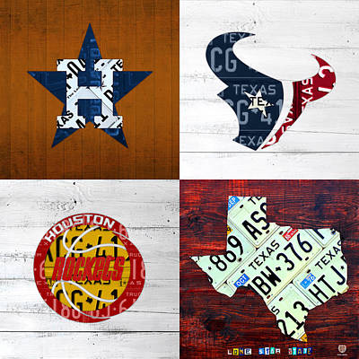 Houston Sports Fan Recycled Vintage Texas License Plate Art Astros Texans Rockets And State Map Art Print by Design Turnpike