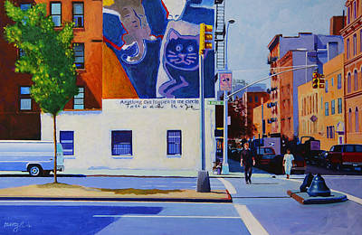 News Painting - Houston Street by John Tartaglione