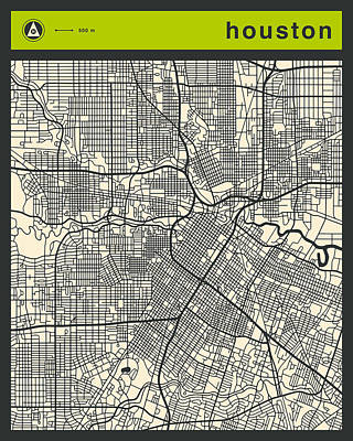 Abstract Retro Digital Art - Houston Street Map by Jazzberry Blue