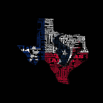 The Lone Star State Digital Art - Houston Texans Typographic Map 01 by Brian Reaves