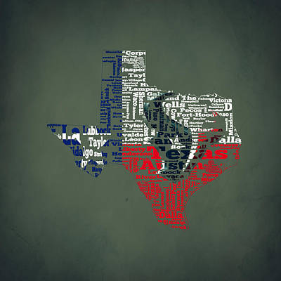 The Lone Star State Digital Art - Houston Texans Typographic Map by Brian Reaves